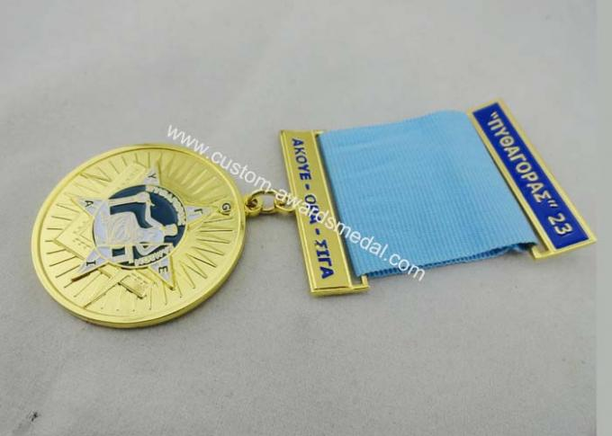3.0mm Gold Plating Custom Medal Awards Zinc Alloy With Soft Enamel