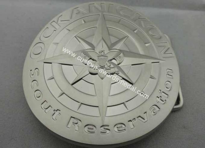 3D Zinc Alloy Metal Scout Reservation Belt Buckle with Misty Nickel Plating for Awards, Souvenir Gift