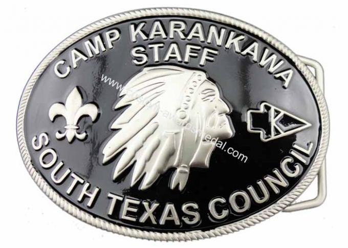 Customized Zinc Alloy 3D CAMP Karankawa Staff Belt Buckle with Soft Enamel, Misty Nickel Plating