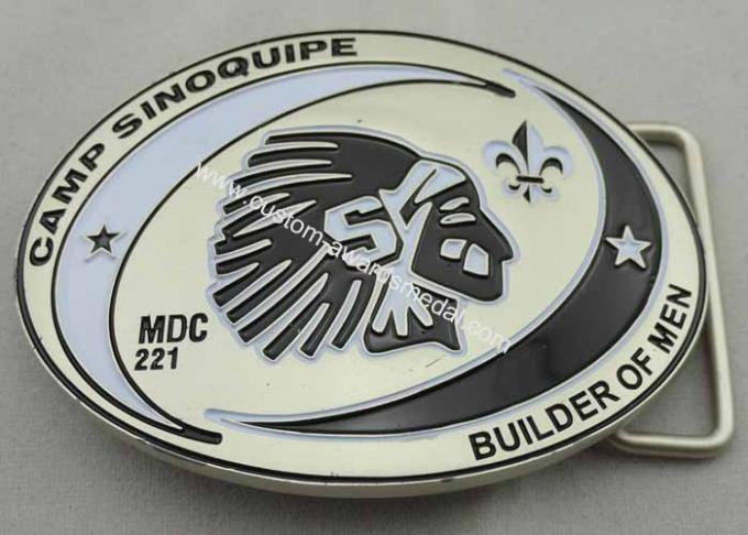 Camp Sinoquipe Belt Buckle with soft Enamel, Zinc Alloy Custom Made Men Buckles with Misty Nickel Plating
