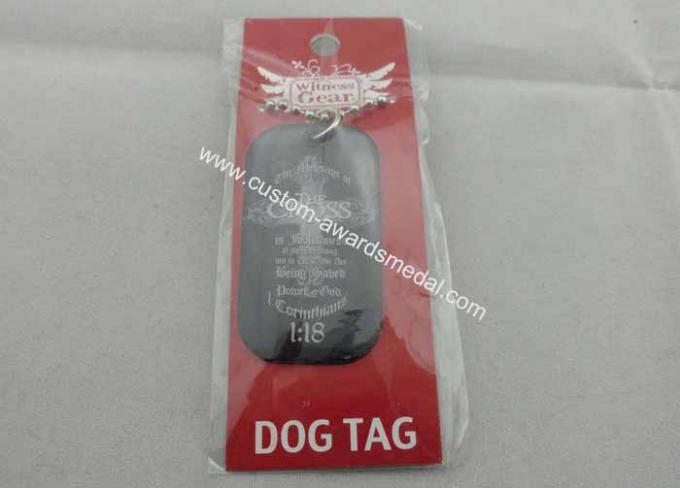 Black Brass Personalised Dog Tags For Men , 2.0mm Stainless Steel Material