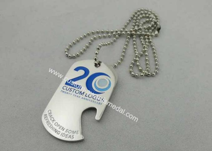 Custom Logo Personalised Dog Tags With Bottle Opener , 800*2.4mm Ball Chain