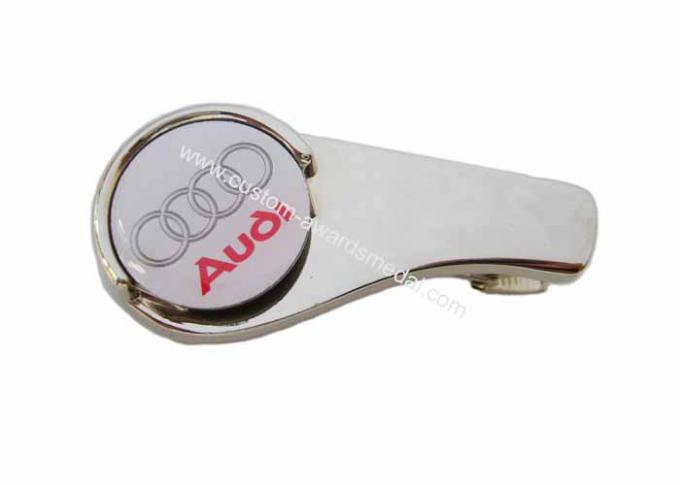 Customized Zinc Alloy Audi Golf Cap Clip With Ball Markers, Nickel Plating, Back Side With Metal Clip