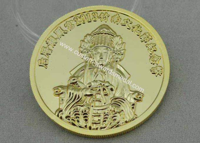 Snake Year Personalized Coins 3d Gold Plating , Gear Edge