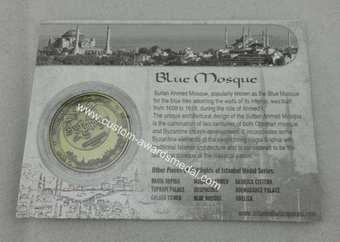 Blue Mosque Personalized Coins 40mm For Outstanding People