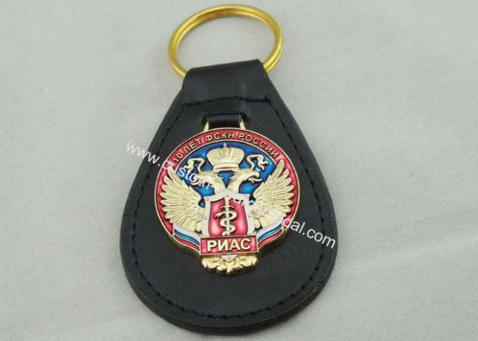 Transparent Soft Enamel Personalized Leather Keychains For Russia Military Police