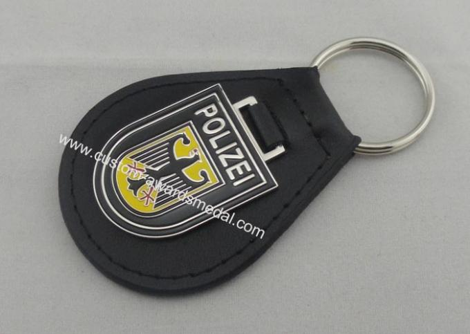 Iron Personalized Leather Keychains And Germany Polizei Leather Key Chain