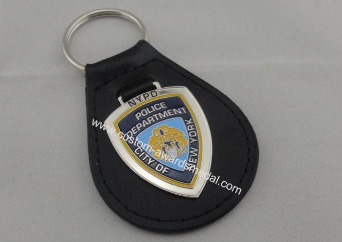 1.5 mm Personalized Leather Keychains , City NY Leather Key Chain With Nickel Plating