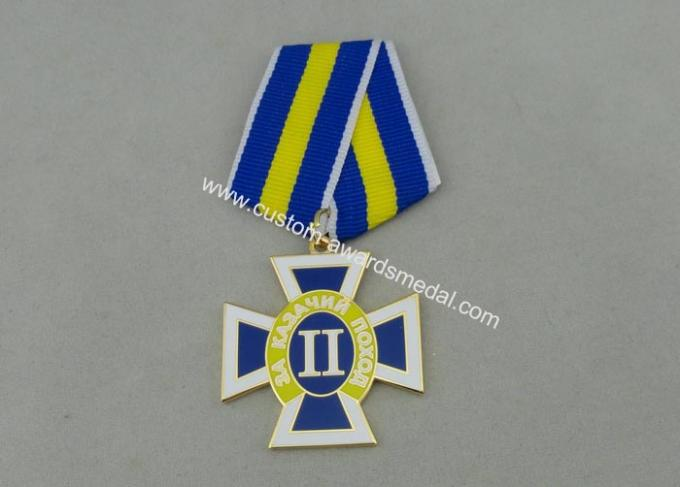 Gold Plating Custom Awards Medals Die Stamp , Ribbons Military Award Medal