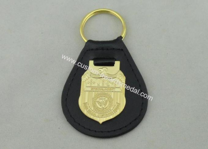 3D NCIS Personalized Leather Key Chain With Gold Plating Emblem