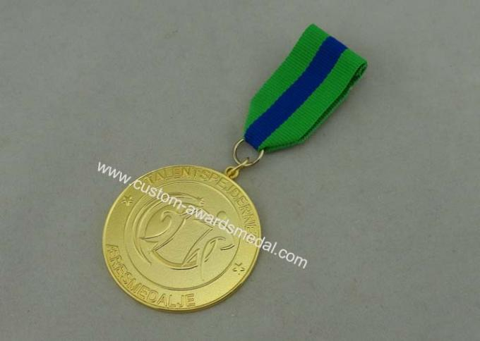 Talentspejdernes Custom Awards Medals by Zinc Alloy Die Casting , Box Packing And Gold Plating