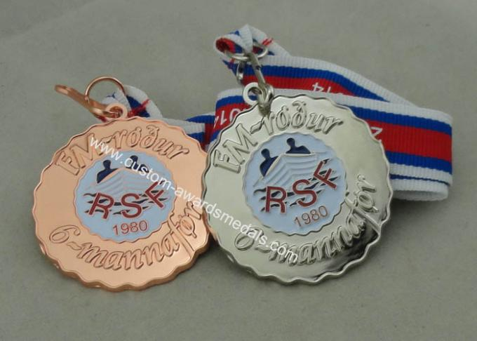 Iron Stamped zinc alloy Medals For RSF, Soft Enamel With Shiny Copper  Plating