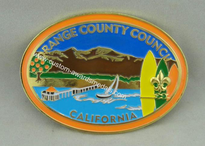 California Orange County Council Custom Made Buckles With Gold Plating And Soft Enamel