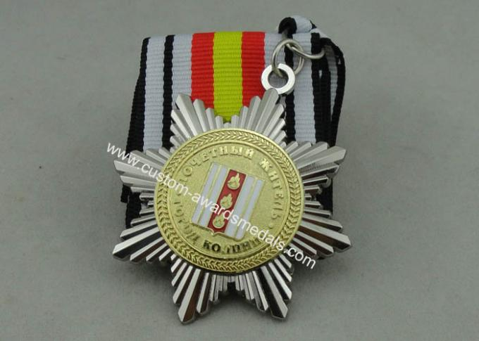 Two Tones Plating Ribbon Medals For Russia Military, 3D Zinc Alloy With Soft Enamel
