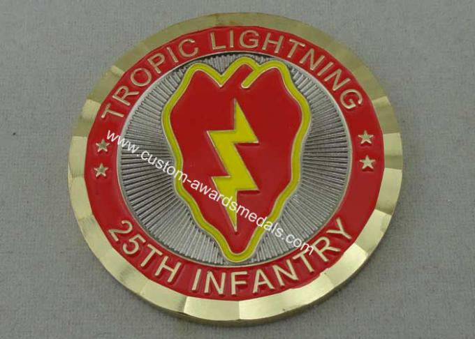 25th Infantry Tropic Lightning Personalized Coins , Double Tones Plating, Diamond Cut Edge