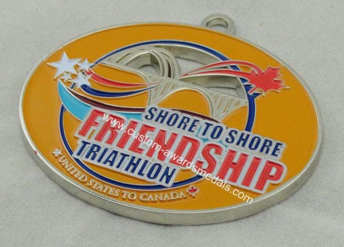 Synthetic Friendship Medal Nickel Plating 2.5 Inch For USA Triathlon