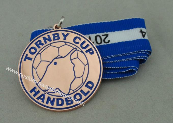 Tornby Cup Handbold Demark Ribbon Medals Copper Plating With Iron Stamped Soft Enamel