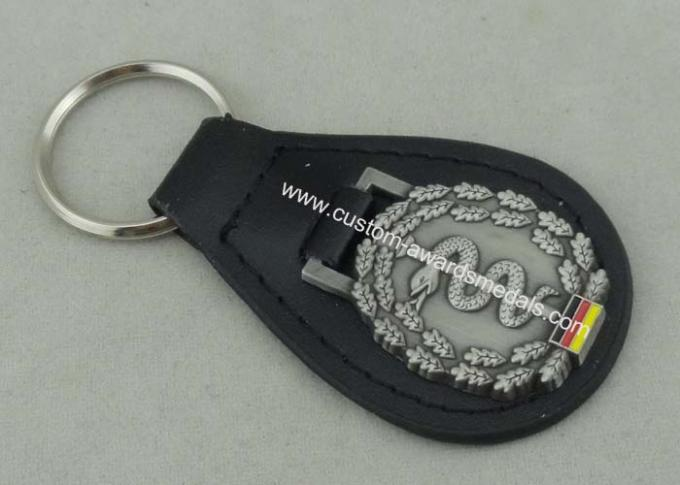 Germany Personalized Leather Key Chains , Zinc Alloy Antique Silver Soft Enamel Keyring