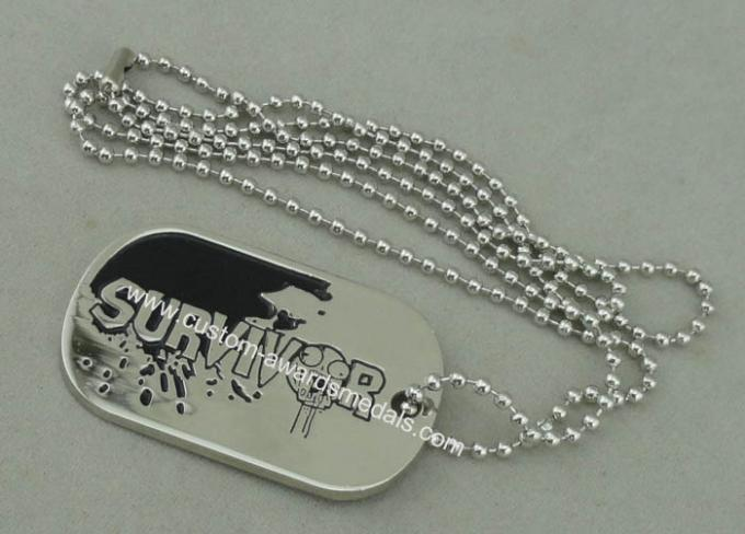 Zinc Alloy Survivor Personalised Dog Tags Soft Enamel Long Ball Chain And Nickel Plating