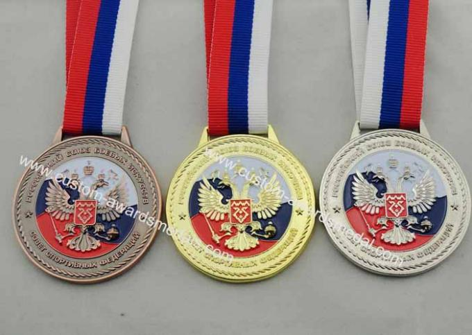 Die Casting 3D Boxing Ribbon Medals with High 3d And High Polishing for Company Promotional Gift