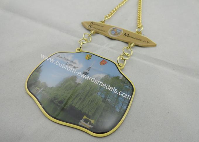 3D Carnival Zinc Alloy, Pewter Medal by Offset Printing, Long Gold Plating Metal Chain