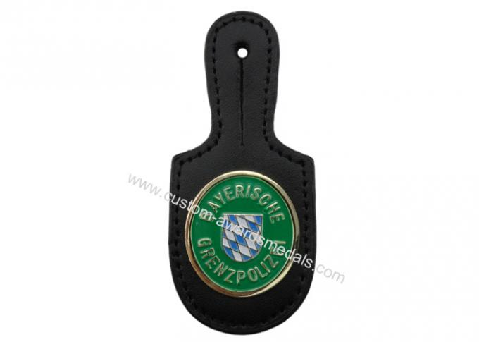 Gremzpolizei Customized Brass Leather Pocket Badge with Soft Enamel Emblem, Gold Plated