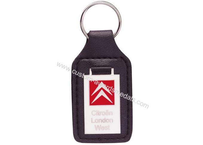 Custom Key Chains, Car Leather Pocket Keychain with Synthetic Enamel Emblem, Zinc Alloy with Nickel Plating