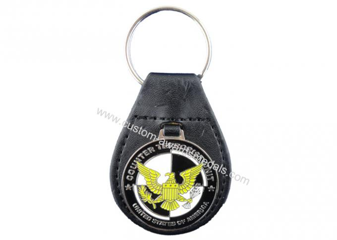 Promotional Gift Eagle Leather Keychain, Personalized Leather Keychains with Nickel Plating