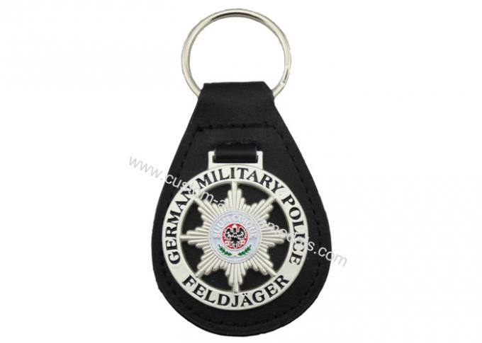 3D German Military Police Leather Key Chain, Zinc Alloy Personalized Leather Keychains with Soft Enamel Emblem