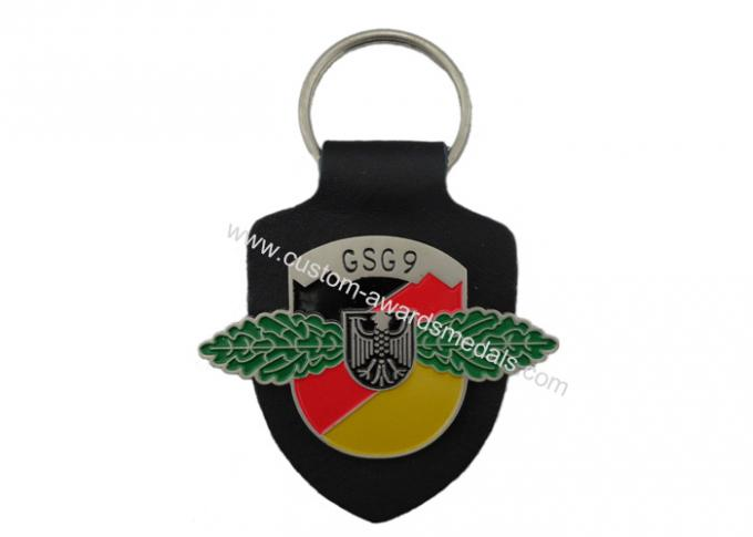 GSG9 Personalized Leather Keychains, Promotional Keychains With Logo with Soft Enamel Emblem