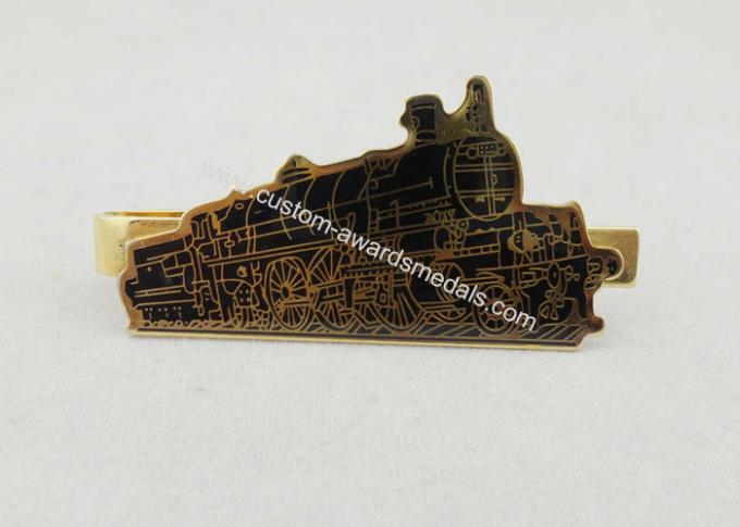 Small Nickel Custom Gold Personalized Tie Bar Gift With Epoxy Black Train