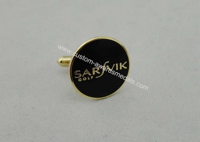 Black Sarfvik Golf Deluxe Stamped Cufflinks With 3d Photo Synthetic Enamel