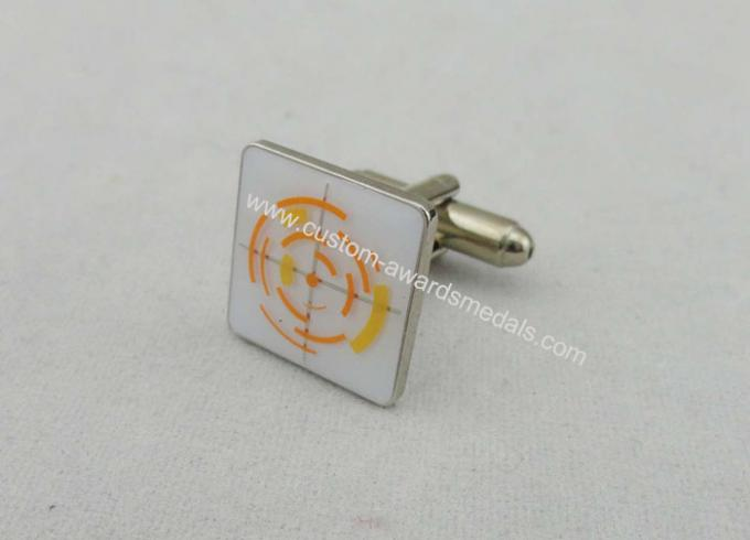 Brass Stamped With Soft Enamel Cufflink , Gold Nickel Plating For School