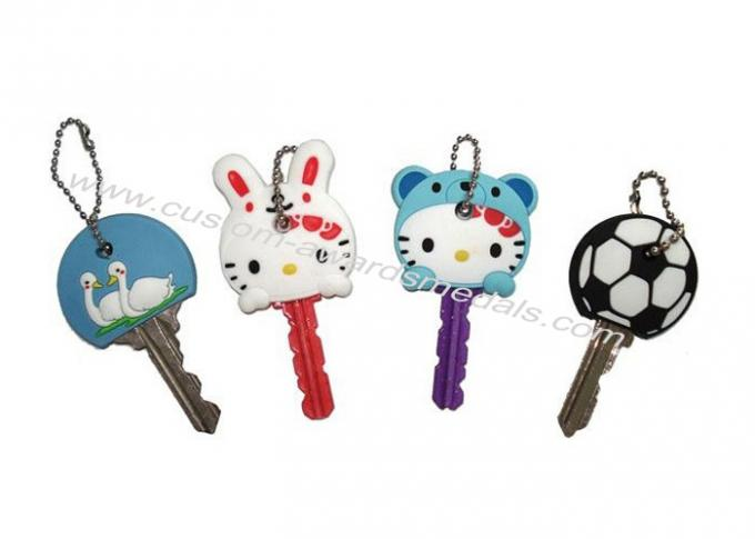 Hello Kitty Cartoon Key Cover, Personalized Soft PVC Keychain With Ball Chain