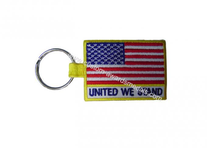 Woven / Embroidery Key Chain, Custom Promotional Keychains With Twill, Cotton, Velvet