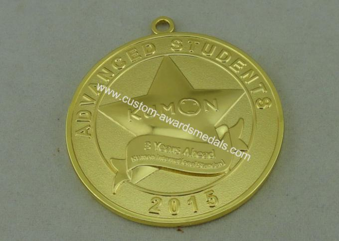 3D Die Casting Medals Zinc Alloy Material With Gold Plating 50 mm