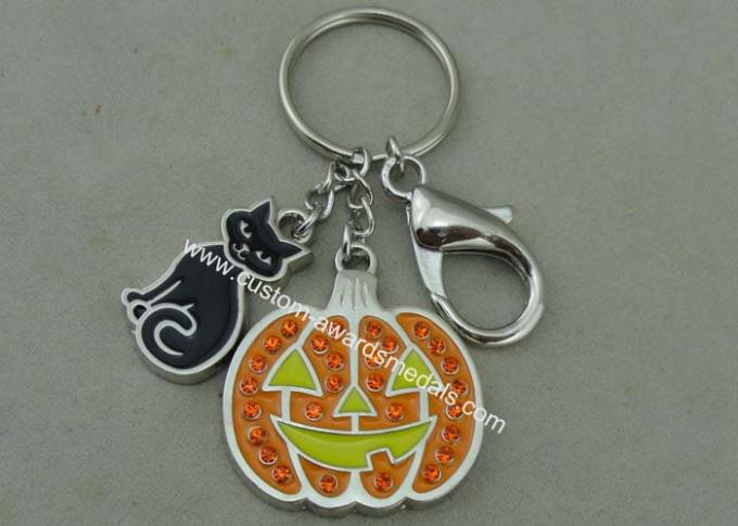 2.0 mm Thickness Promotional Keychain Swarovski Key Chain Soft Enamel