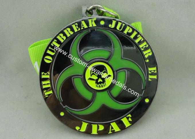 Personalised Zinc Alloy Transparent Enamel Medal With Black Nickel Plating