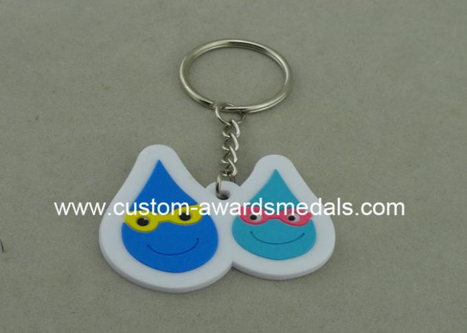 Small Blue Promotional Customized Keychains For Give Away Gifts