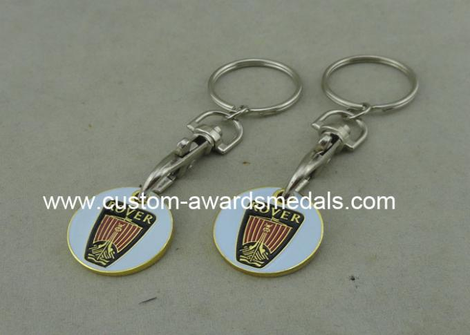 Customised Gold Color Trolley Token Keyring Personalised Rover Brass