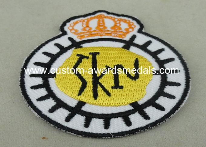 Customized Embroidered Badge For Business Promotion , Black Merrow Eedge