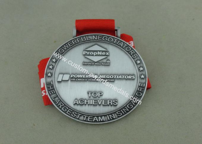 Die Cast Medals For Souvenir , Ribbon Medal Badge For Sports