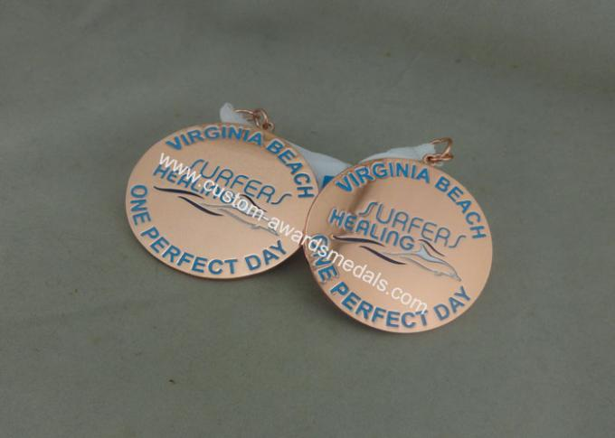 Zinc Alloy Award Ribbons Medals , Eco Friendly Award Medals For Kids