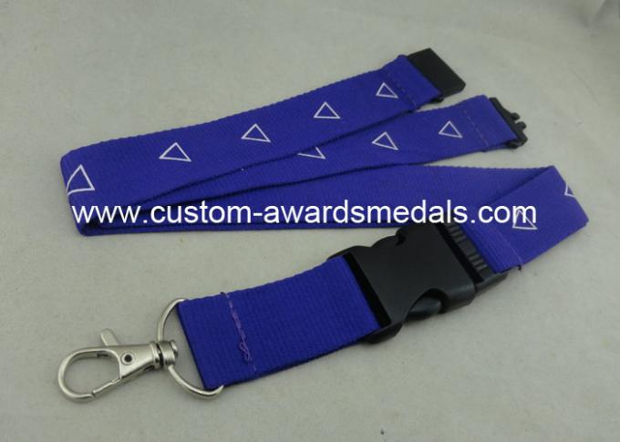 Factory Customized Sublimation Printing Promotional Lanyards , Polyester Material With Breakaway Buckle