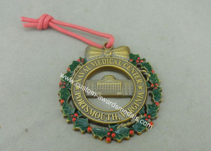 Customized Zinc Alloy Ribbon Medals , 3D Die Casting Antique Brass Medals