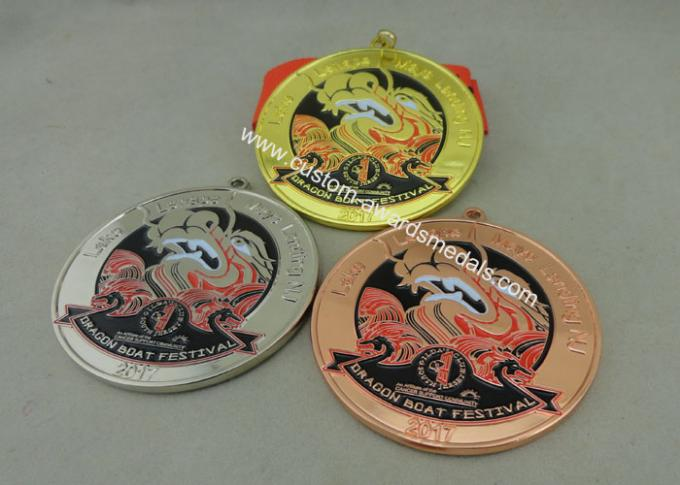 Zinc Alloy Customized Ribbon Medals , 3D Sports Running Medals With Gold Plating