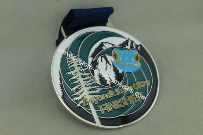 Customized Big Round Antique Enamel Medals , Brass Die Struck Running Sports Medal