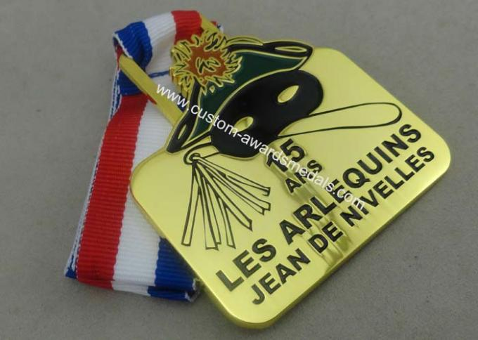 Gold Belgium Carnival Celebration Medals Badge , Zinc Alloy Sports Medals
