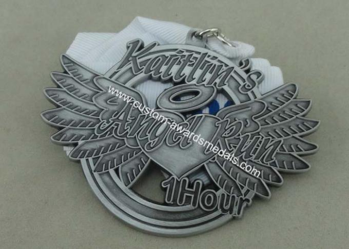 Soft Enamel Die Casting Medals For Running , Brass Awards Medal With Sublimation Ribbon