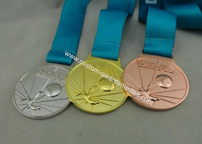 Customized Ribbon Football Awards Medals Full Relief Zinc Alloy